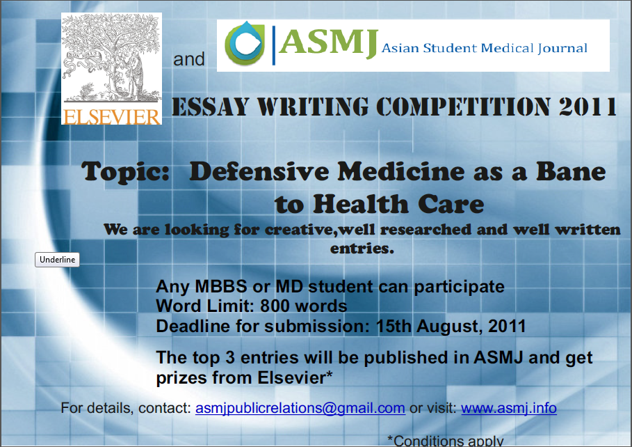 medical essay competitions 2014 Uk science and innovation network essay competition  the successful candidate must be able to commit to completing the essay by 22 september 2014  as well as appropriate medical insurance.