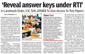 Landmark Order: JIPMER Asked to Reveal Test Paper and Keys