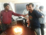 The customary zapping before cutting the cake