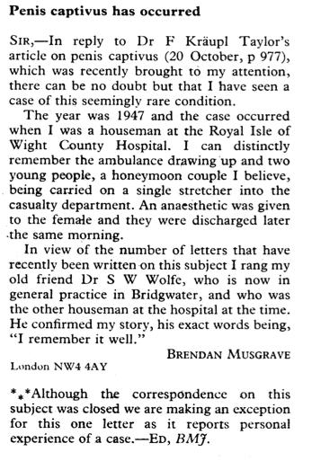 Penis Captivus: A Reality (BMJ, 1980)