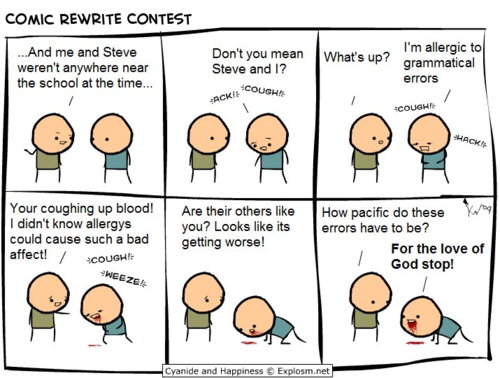 Cyanide & Happiness: Allergic to bad grammar