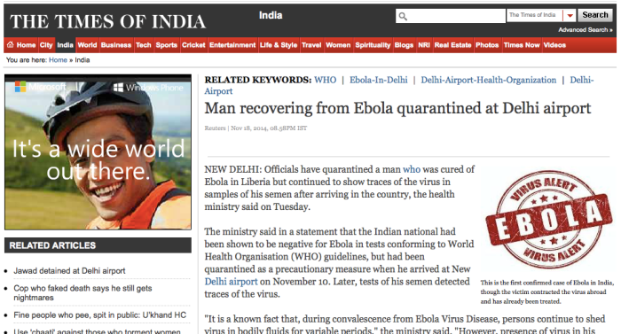 TOI: Quarantine of India's Patient Zero of Ebola