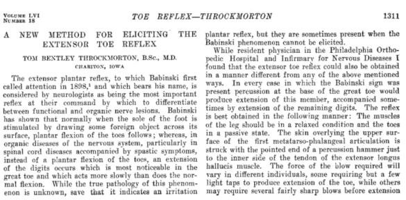 Throckmorton Reflex (JAMA, 1911)