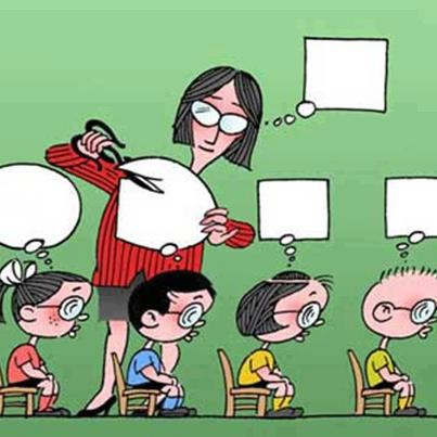 teacher cuts thought bubbles of students
